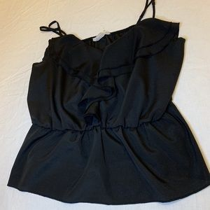 Cute ruffled black tank
